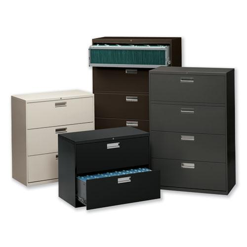 600 Series Three-Drawer Lateral File, 36w x 18d x 39.13h, Light Gray. Picture 2