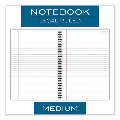 Wirebound Business Notebook, Wide/Legal Rule, Black Cover, 9.5 x 6.68, 80 Sheets. Picture 2