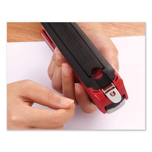 InPower Spring-Powered Premium Desktop Stapler, 28-Sheet Capacity, Red/Silver. Picture 2
