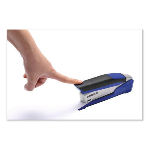 InPower Spring-Powered Premium Desktop Stapler, 28-Sheet Capacity, Blue/Silver. Picture 10