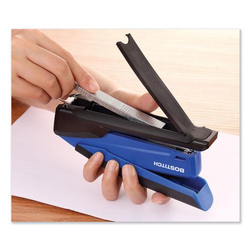 InPower Spring-Powered Desktop Stapler, 20-Sheet Capacity, Blue. Picture 7