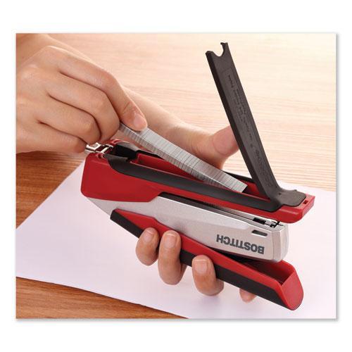 InPower Spring-Powered Premium Desktop Stapler, 28-Sheet Capacity, Red/Silver. Picture 7