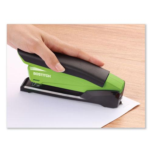 InPower Spring-Powered Desktop Stapler, 20-Sheet Capacity, Green. Picture 4