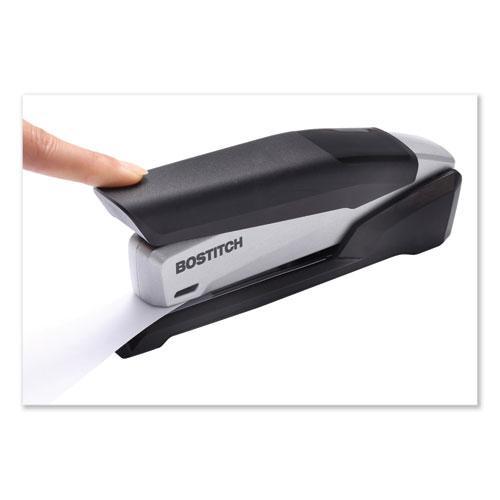 InPower Spring-Powered Premium Desktop Stapler, 28-Sheet Capacity, Black/Silver. Picture 6
