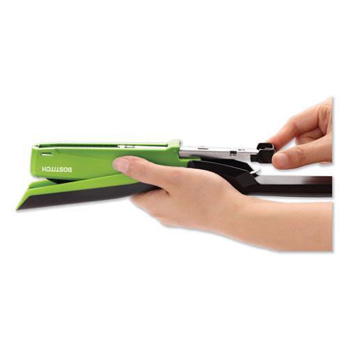 InPower Spring-Powered Desktop Stapler, 20-Sheet Capacity, Green. Picture 3