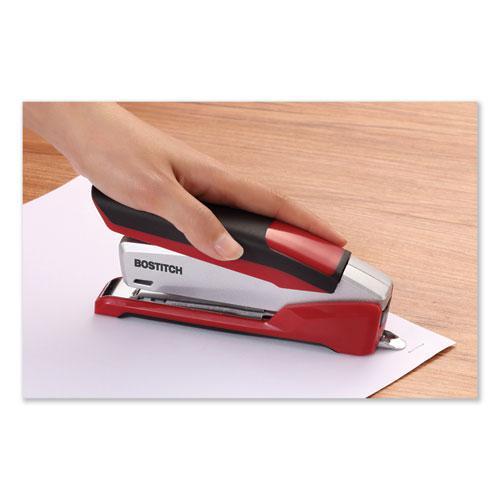 InPower Spring-Powered Premium Desktop Stapler, 28-Sheet Capacity, Red/Silver. Picture 3