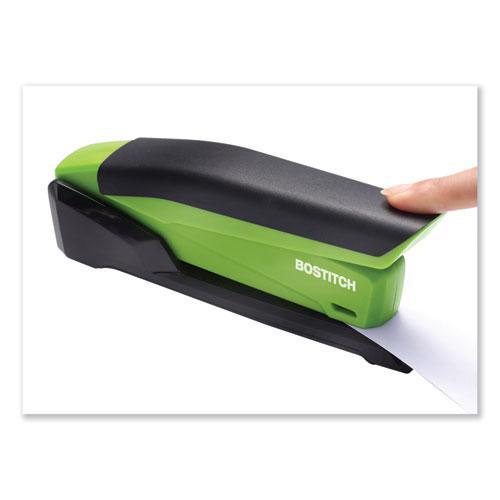 InPower Spring-Powered Desktop Stapler, 20-Sheet Capacity, Green. Picture 6
