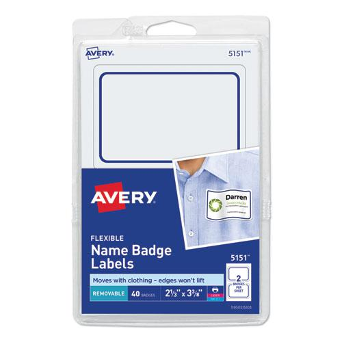 Flexible Adhesive Name Badge Labels, 3.38 x 2.33, White/Blue Border, 40/Pack. Picture 1