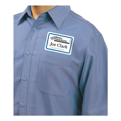 Flexible Adhesive Name Badge Labels, 3.38 x 2.33, White/Blue Border, 40/Pack. Picture 4