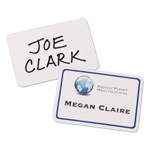 Flexible Adhesive Name Badge Labels, 3.38 x 2.33, White/Blue Border, 40/Pack. Picture 3