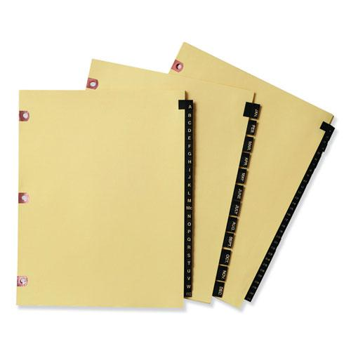Preprinted Black Leather Tab Dividers w/Copper Reinforced Holes, 25-Tab, Letter. Picture 2