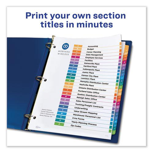 Customizable Table of Contents Ready Index Dividers with Multicolor Tabs, 26-Tab, A to Z, 11 x 8.5, White, 1 Set. Picture 3