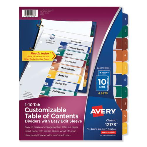 Ready Index Customizable Table of Contents, Asst Dividers, 10-Tab, Ltr, 6 Sets. Picture 1