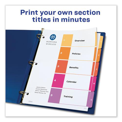 Customizable Table of Contents Ready Index Dividers with Multicolor Tabs, 5-Tab, 1 to 5, 11 x 8.5, White, 3 Sets. Picture 7