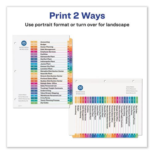 Customizable TOC Ready Index Multicolor Dividers, 26-Tab, Letter. Picture 6