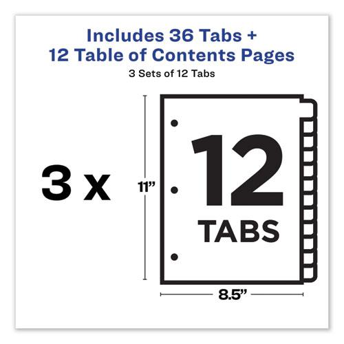 Customizable Table of Contents Ready Index Dividers with Multicolor Tabs, 12-Tab, 1 to 12, 11 x 8.5, White, 3 Sets. Picture 3