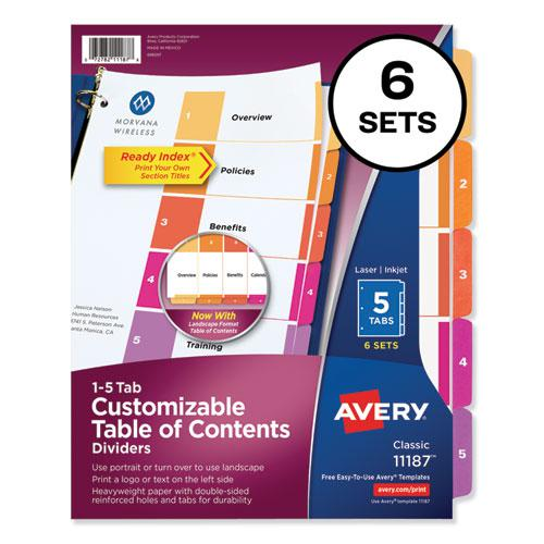 Customizable TOC Ready Index Multicolor Dividers, 5-Tab, Letter, 6 Sets. Picture 1