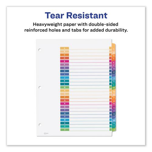 Customizable Table of Contents Ready Index Dividers with Multicolor Tabs, 26-Tab, A to Z, 11 x 8.5, White, 1 Set. Picture 4