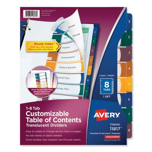 Customizable Table of Contents Ready Index Dividers with Multicolor Tabs, 8-Tab, 1 to 8, 11 x 8.5, Translucent, 1 Set. Picture 1