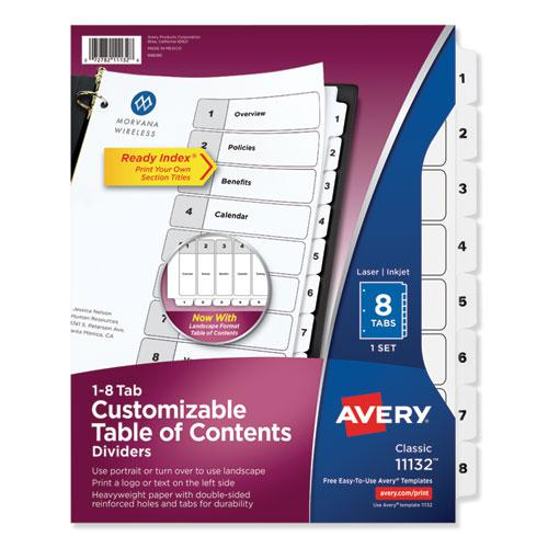 Customizable TOC Ready Index Black and White Dividers, 8-Tab, Letter. Picture 1