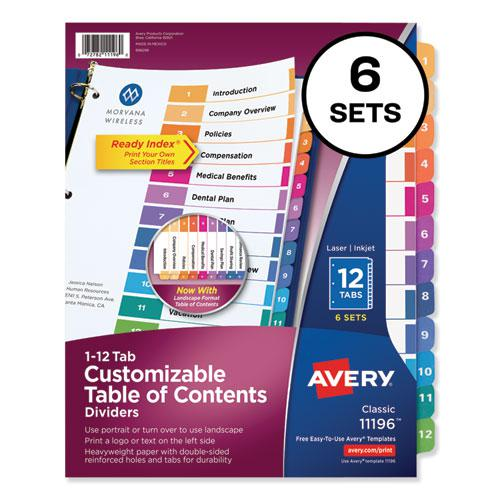 Customizable TOC Ready Index Multicolor Dividers, 12-Tab, Letter, 6 Sets. Picture 1