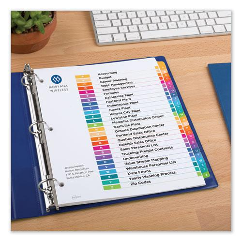 Customizable Table of Contents Ready Index Dividers with Multicolor Tabs, 26-Tab, A to Z, 11 x 8.5, White, 1 Set. Picture 7