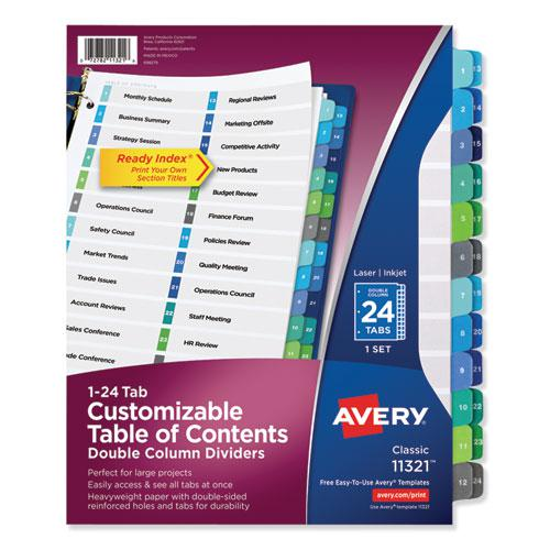 Customizable TOC Ready Index Double Column Multicolor Dividers, 24-Tab, Letter. Picture 1