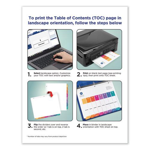 Customizable Table of Contents Ready Index Dividers with Multicolor Tabs, 26-Tab, A to Z, 11 x 8.5, White, 1 Set. Picture 6