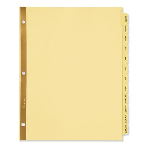 Preprinted Laminated Tab Dividers w/Gold Reinforced Binding Edge, 12-Tab, Letter. Picture 1