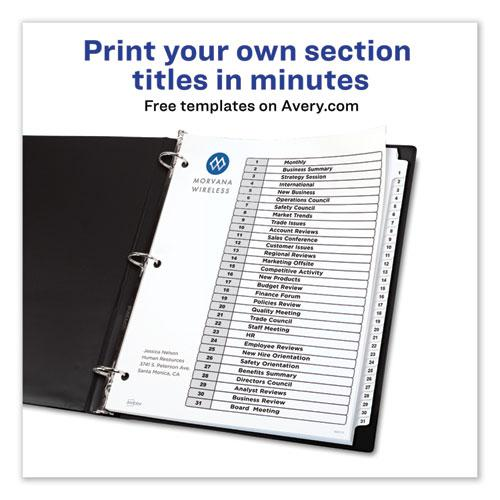 Customizable TOC Ready Index Black and White Dividers, 31-Tab, Letter. Picture 2