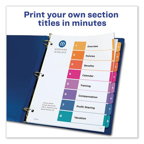 Customizable Table of Contents Ready Index Dividers with Multicolor Tabs, 8-Tab, 1 to 8, 11 x 8.5, White, 3 Sets. Picture 6