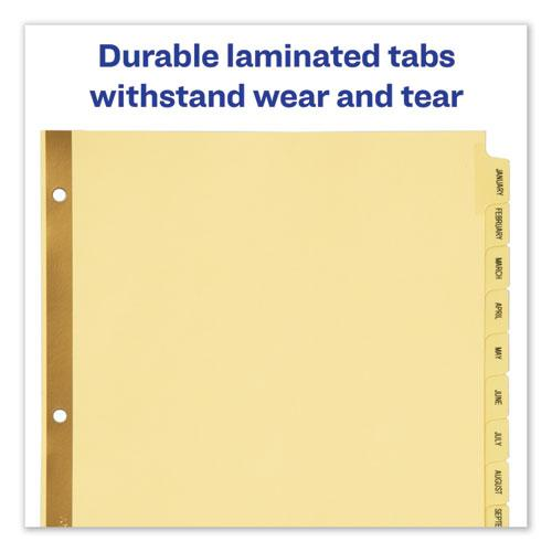Preprinted Laminated Tab Dividers w/Gold Reinforced Binding Edge, 12-Tab, Letter. Picture 6