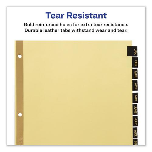 Preprinted Black Leather Tab Dividers w/Gold Reinforced Edge, 12-Tab, Ltr. Picture 5