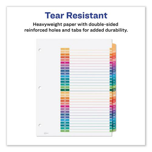 Customizable Table of Contents Ready Index Dividers with Multicolor Tabs, 31-Tab, 1 to 31, 11 x 8.5, White, 1 Set. Picture 5