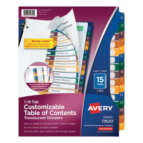 Customizable Table of Contents Ready Index Dividers with Multicolor Tabs, 15-Tab, 1 to 15, 11 x 8.5, Translucent, 1 Set. Picture 1