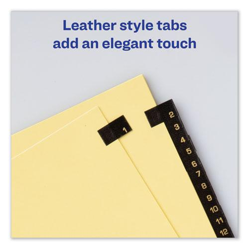 Preprinted Black Leather Tab Dividers w/Copper Reinforced Holes, 31-Tab, Letter. Picture 3