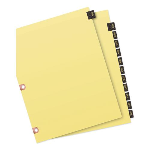 Preprinted Black Leather Tab Dividers w/Copper Reinforced Holes, 12-Tab, Letter. Picture 5