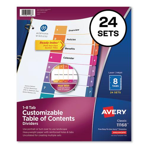 Customizable TOC Ready Index Multicolor Dividers, 8-Tab, Letter, 24 Sets. Picture 1