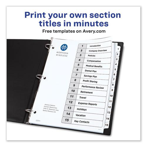 Customizable TOC Ready Index Black and White Dividers, 15-Tab, Letter. Picture 3