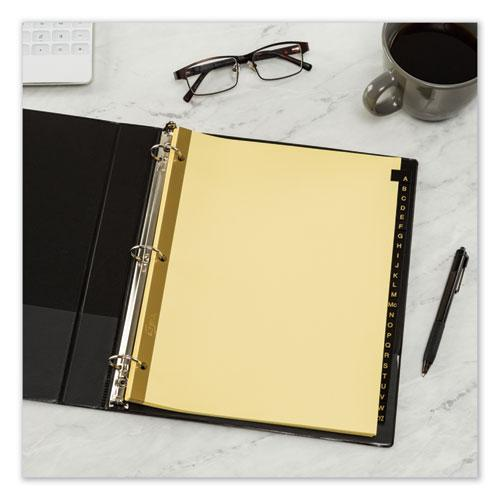 Preprinted Black Leather Tab Dividers w/Gold Reinforced Edge, 25-Tab, Ltr. Picture 4