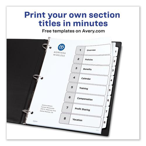 Customizable TOC Ready Index Black and White Dividers, 8-Tab, Letter. Picture 8