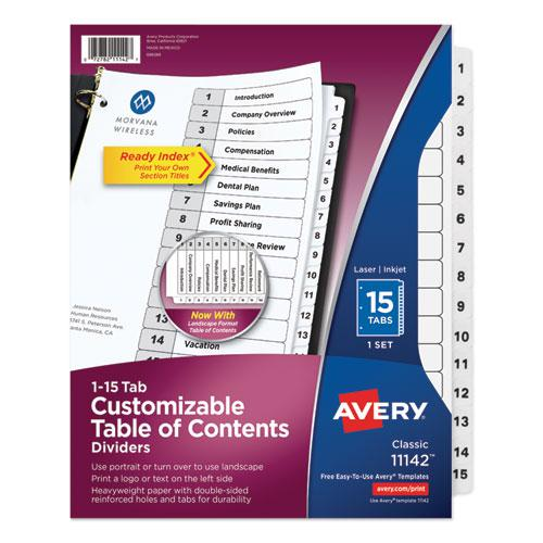 Customizable TOC Ready Index Black and White Dividers, 15-Tab, Letter. Picture 1