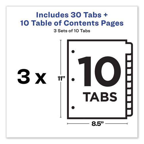 Customizable Table of Contents Ready Index Dividers with Multicolor Tabs, 10-Tab, 1 to 10, 11 x 8.5, White, 3 Sets. Picture 3