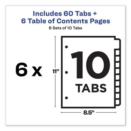 Customizable TOC Ready Index Multicolor Dividers, 10-Tab, Letter, 6 Sets. Picture 5