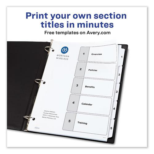 Customizable TOC Ready Index Black and White Dividers, 5-Tab, Letter. Picture 6