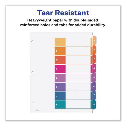 Customizable Table of Contents Ready Index Dividers with Multicolor Tabs, 8-Tab, 1 to 8, 11 x 8.5, White, 3 Sets. Picture 3