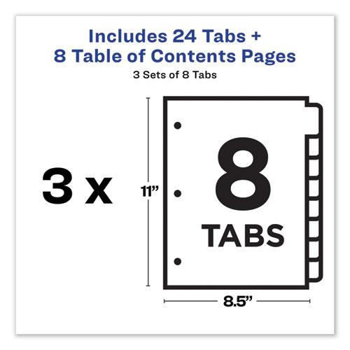 Customizable Table of Contents Ready Index Dividers with Multicolor Tabs, 8-Tab, 1 to 8, 11 x 8.5, White, 3 Sets. Picture 2