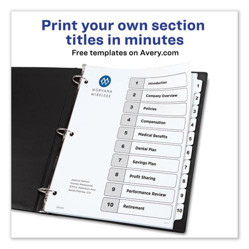 Customizable TOC Ready Index Black and White Dividers, 10-Tab, Letter. Picture 8