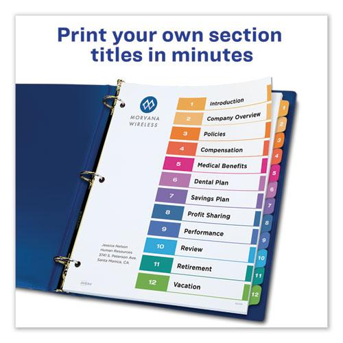 Customizable Table of Contents Ready Index Dividers with Multicolor Tabs, 12-Tab, 1 to 12, 11 x 8.5, White, 3 Sets. Picture 2