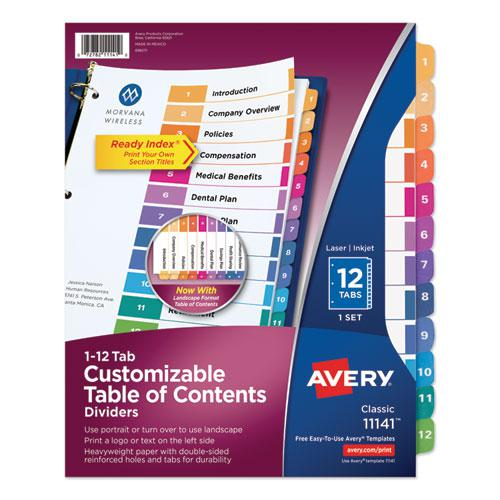 Customizable TOC Ready Index Multicolor Dividers, 12-Tab, Letter. Picture 1